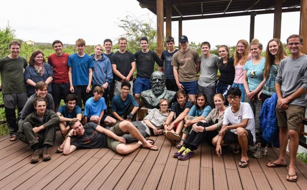 The team at the Charles Darwin Research Station with Shrewsbury School's most famous alumnus