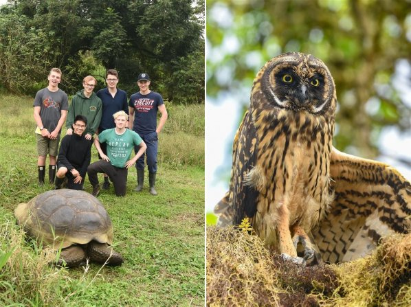 Jake Elliott, Will Bedson, Steffan Williams, Alexander Lyster-Binns, Jethro Wong and James Cox with a shy giant tortoise; a Short-eared Owl stretching its wing