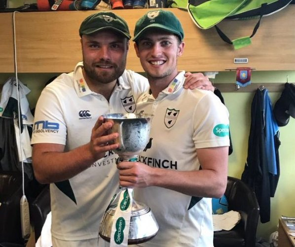 Joe Leach and Ed Barnard with the County Championship Division 2 Trophy