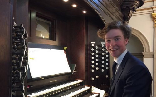 Fintan at the organ console of St Lawrence Jewry in the City where he played in a lunchtime organ recital, 7th March 2017