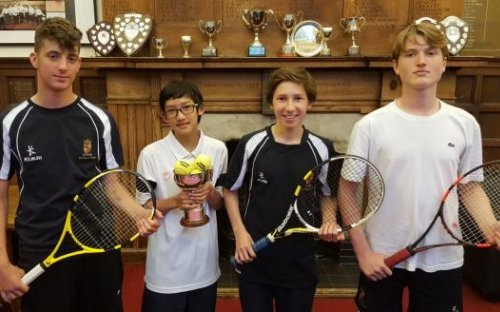 School House wins the Junior Inter-House Tennis Championships for the first time in a generation. (L-R): Euan Cooper, Byron Lee (Captain), Artur Sarsenov, Ben Stewart