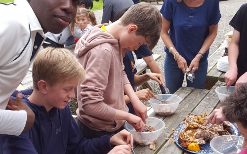 School House barbeque spit roast duck