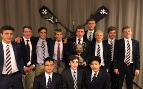 Oldham's rowers are pictured with House Captain of Boats, Tom Shepherd-Cross, holding the Senior Challenge Sculls Cup, won on Saturday 16th September 2017..