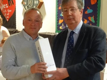Eton Fives Association – Lifetime Achievement Award (Mike Hughes (SH 1975-80), Richard Black Chairman of the EFA)
