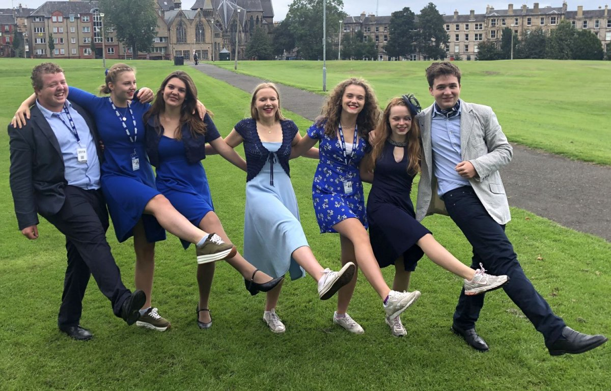 (L-R): Oliver Shutts, Olivia Moir, Ella Niblett, Emily Hartland, Anya Tonks, Anna Cowan and Freddie Lawson, who are all currently performing at the Edinburgh Fringe Festival in the Shrewsbury School musical 'A Drowned Bride'.