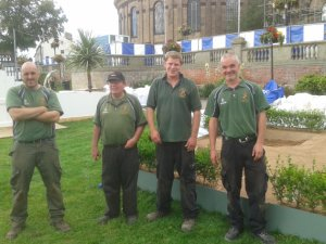 Setting up, L-R: Stuart Edwards, Brian Reynolds, Alec Waite and Andy Richards (Head of Grounds)