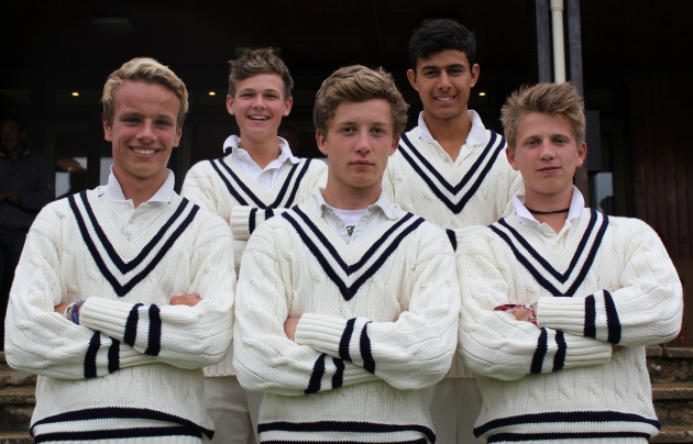 School Firsts for Cricket - Back row: George Lewis, Joe Carrasco; front row: Charlie White, Charles Kidson, William Cook