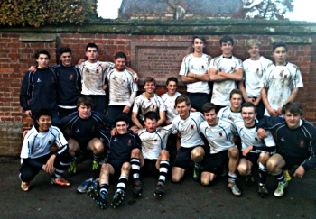 Shrewsbury's A XV by the Webb Ellis plaque, Rugby School, 9th November 2013