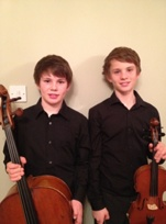 The Orchard boys: Ross with cello, Dan with violin